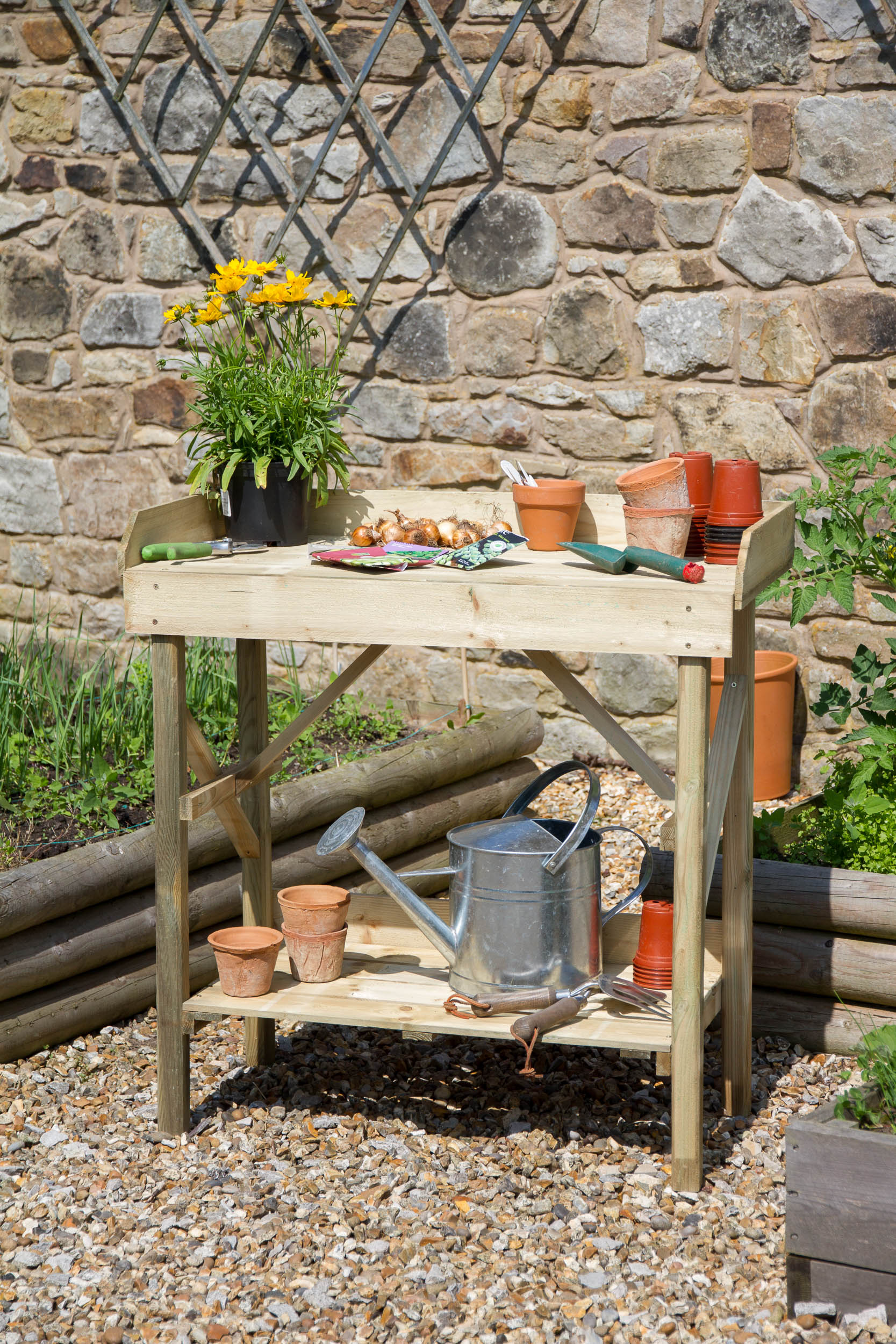 urbanamericana rustic table collections img outdoor potting products decor plant