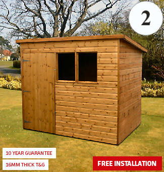 Pent Shed with Front Door