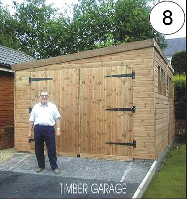 Pent Garage With Wooden Doors Sheds N Chalets